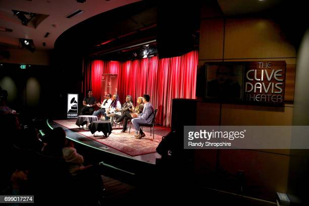 Justin Hunte Charlie Wilson Lalah Hathaway Vic Mensa Shanti Das and Dr Reef Karim attend the Health in Hip Hop panel at the GRAMMY Museum on June 20...