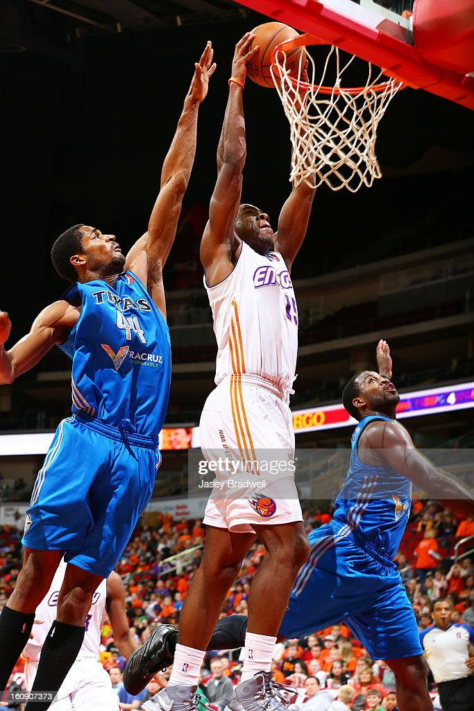 Justin Hurtt #15 of the Iowa Energy dunks against Sean Williams #44 of the Texas Legends in the NBA D-League game on February 7, 2013 at the Wells Fargo Arena in Des Moines, Iowa.
