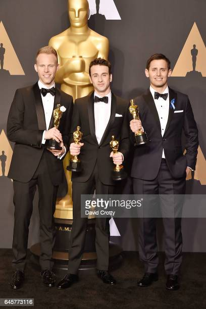 Justin Hurwitz Benj Pasek and Justin Paul attend the 89th Annual Academy Awards Press Room at Hollywood Highland Center on February 26 2017 in...