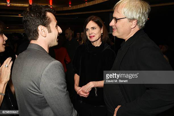 Justin Hurwitz Elizabeth McGovern and Simon Curtis attend a reception in honour of 'La La Land' with Damien Chazelle Emma Stone and Justin Hurwitz at...