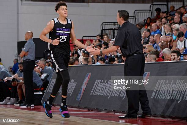 Justin Jackson and Bryan Gates of the Sacramento Kings shake hands during the 2017 Summer League game against the Phoenix Suns on July 14 2017 at Cox...