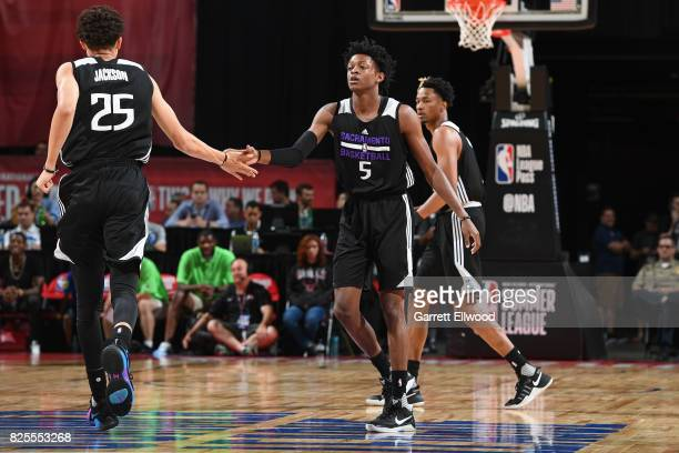 Justin Jackson and De'Aaron Fox of the Sacramento Kings shake hands during the 2017 NBA Las Vegas Summer League game against the Dallas Mavericks on...
