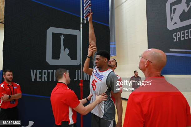 Justin Jackson gets ready to participate in the vertical jump during the NBA Draft Combine at the Quest Multisport Center on May 11 2017 in Chicago...