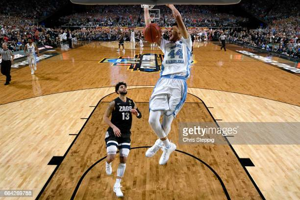 Justin Jackson of the North Carolina Tar Heels dunks during the 2017 NCAA Men's Final Four National Championship game against the Gonzaga Bulldogs at...