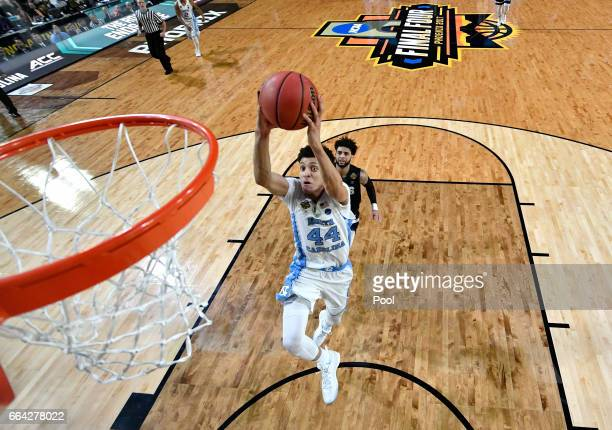 Justin Jackson of the North Carolina Tar Heels goes up for a dunk late in the second half against the Gonzaga Bulldogs during the 2017 NCAA Men's...