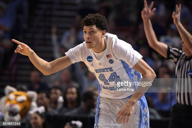 Justin Jackson of the North Carolina Tar Heels reacts during their game against the Texas Southern Tigers during the first round of the 2017 NCAA...