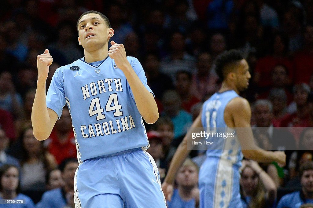 Justin Jackson of the North Carolina Tar Heels reacts while taking on the Wisconsin Badgers during the West Regional Semifinal of the 2015 NCAA Men's...
