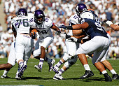 Justin Jackson of the Northwestern Wildcats rushes against the Penn State Nittany Lions in the first half during the game on September 27 2014 at...
