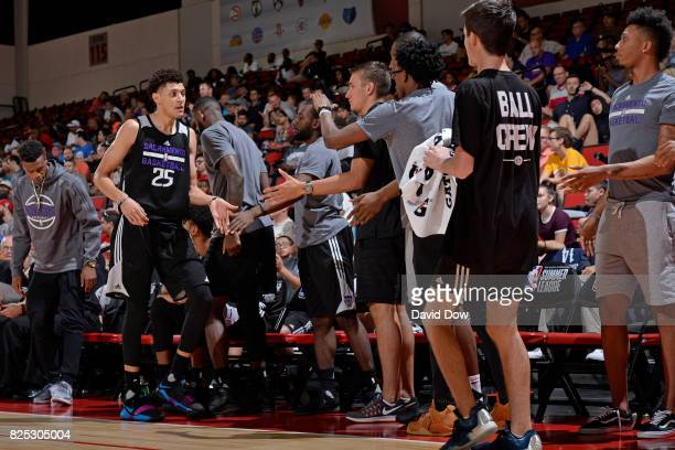 Justin Jackson of the Sacramento Kings shakes hands with teammates during the 2017 Summer League game against the Phoenix Suns on July 14 2017 at Cox...