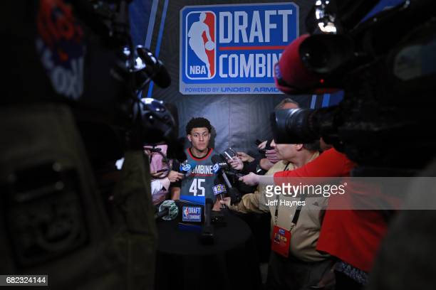 Justin Jackson talks to the media during the NBA Draft Combine at the Quest Multisport Center on May 11 2017 in Chicago Illinois NOTE TO USER User...