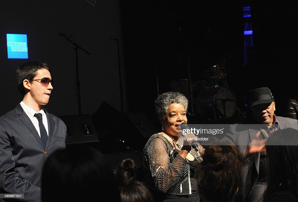 Justin Kauflin, Gwen Terry and <a gi-track='captionPersonalityLinkClicked' href=/galleries/search?phrase=Quincy+Jones&family=editorial&specificpeople=171797 ng-click='$event.stopPropagation()'>Quincy Jones</a> at the 'Keep On Keepin' On' world premiere exclusively for American Express Card Members at BMCC Tribeca PAC on April 19, 2014 in New York City.