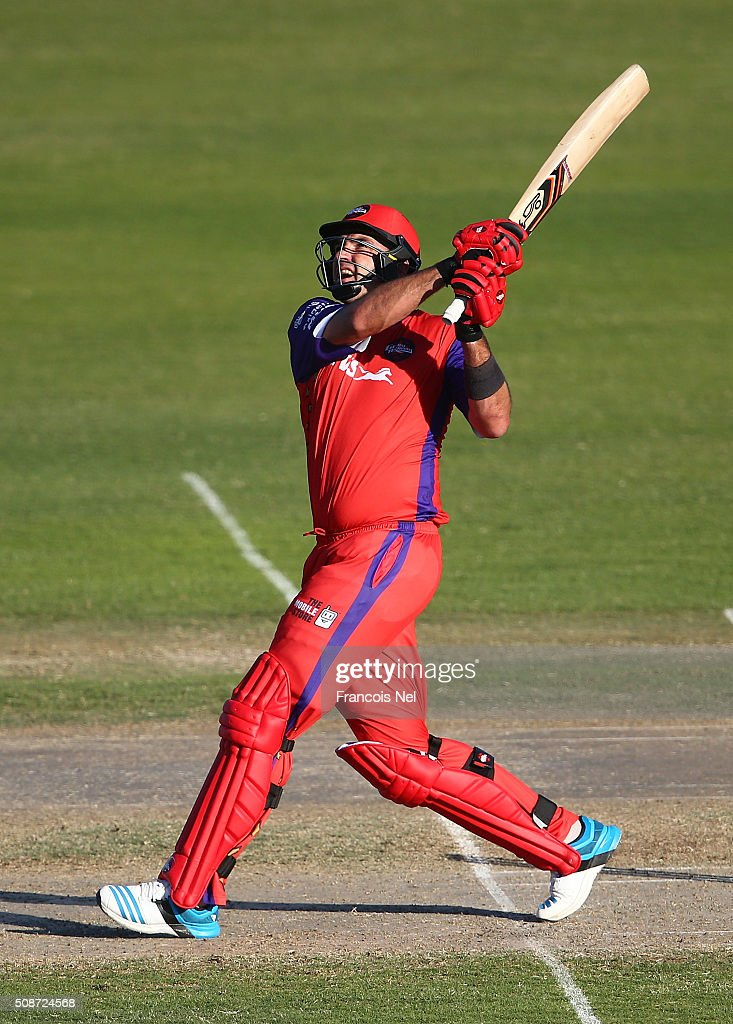 <a gi-track='captionPersonalityLinkClicked' href=/galleries/search?phrase=Justin+Kemp&family=editorial&specificpeople=787095 ng-click='$event.stopPropagation()'>Justin Kemp</a> of Gemini bats during the Oxigen Masters Champions League match between Gemini Arabians and Virgo Super Kings on February 6, 2016 in Sharjah, United Arab Emirates.