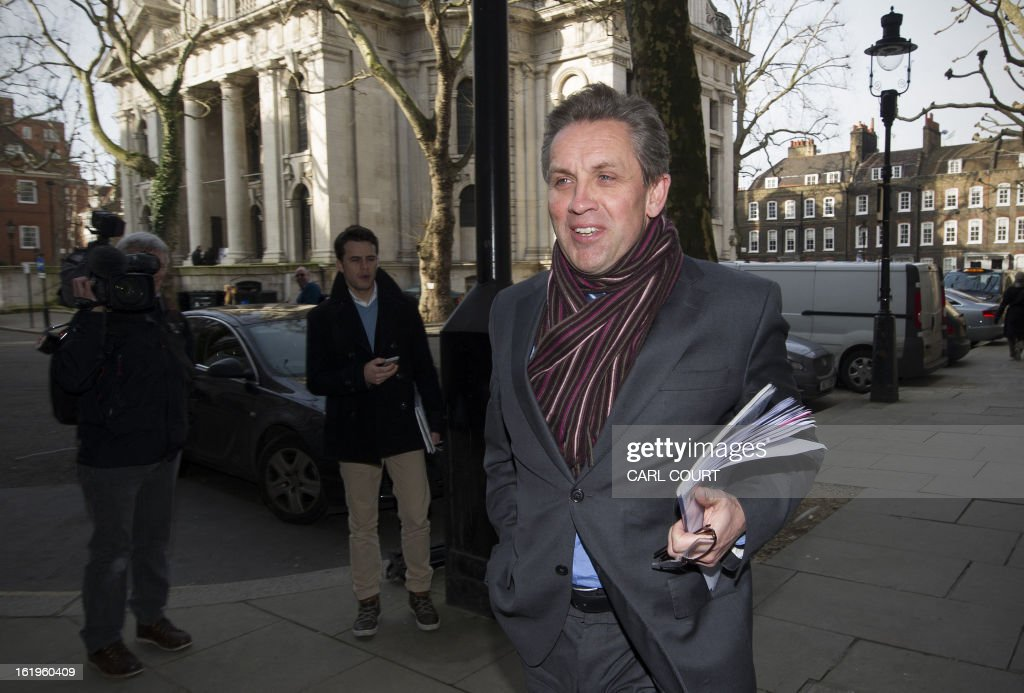 Justin King, chief executive of British supermarket Sainsbury's, arrives for a meeting with British Environment Secretary, Owen Paterson (not pictured) and other food retailers, in central London on February 18, 2013, to establish what is being done to restore consumer confidence in the wake of the horse meat scandal. AFP PHOTO/CARL COURT