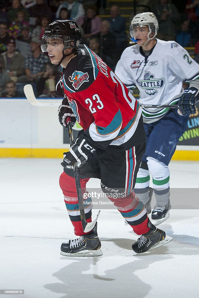 Justin Kirkland #23 of the Kelowna Rockets skates against the Seattle Thunderbirds on October 11, 2013 at Prospera Place in Kelowna, British Columbia, Canada