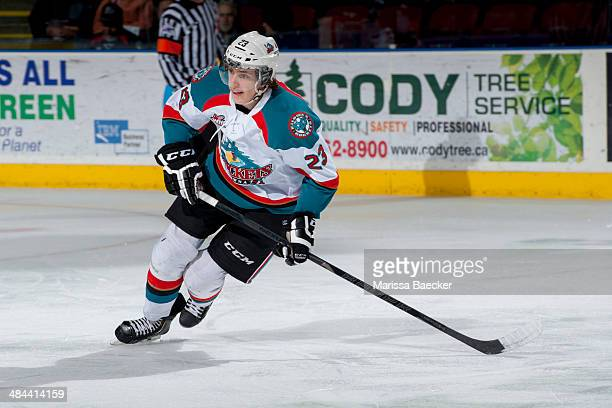 Justin Kirkland of the Kelowna Rockets skates against the Seattle Thunderbirds on April 3 2014 during Game 1 of the second round of WHL Playoffs at...
