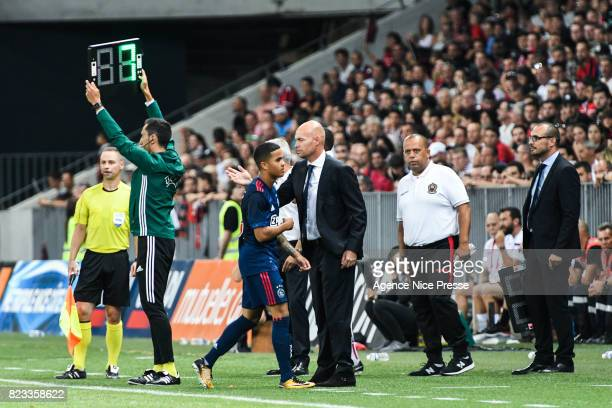 Justin Kluivert and Marcel Keizer coach of Ajax during the UEFA Champions League Qualifying match between Nice and Ajax Amsterdam at Allianz Riviera...