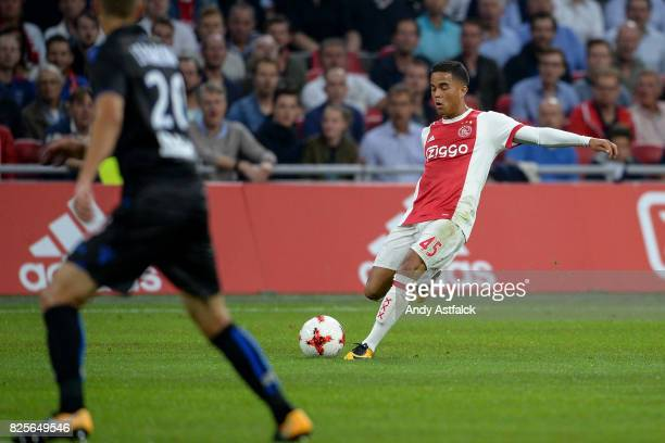 Justin Kluivert from AJAX during the UEFA Champions League Qualifying Third Round Second Leg match between AJAX Amsterdam and OSC Nice at Amsterdam...