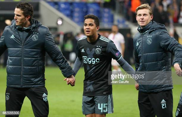Justin Kluivert of Ajax Amsterdam and teammates celebrate the qualification for the Final following the UEFA Europa League semi final second leg...