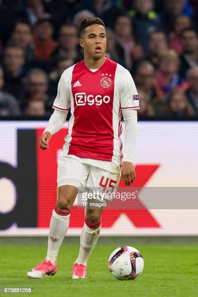 Justin Kluivert of Ajax Amsterdam controls the ball during the UEFA Europa League Quarter Final first leg match between Ajax Amsterdam and FC Schalke...