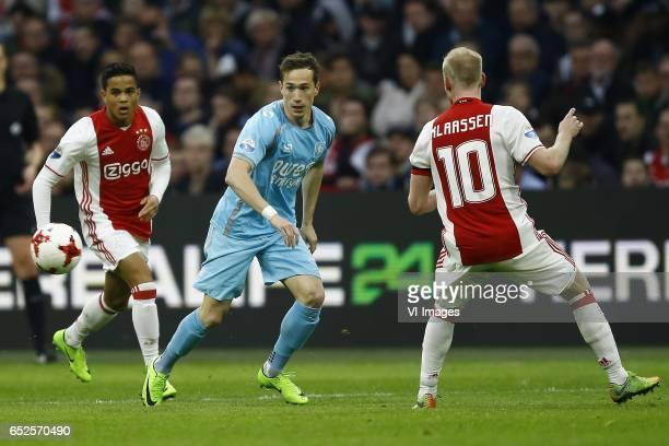 Justin kluivert of Ajax Amsterdam Dejan Trajkovski of FC Twente Davy Klaassen of Ajax Amsterdamduring the Dutch Eredivisie match between Ajax...