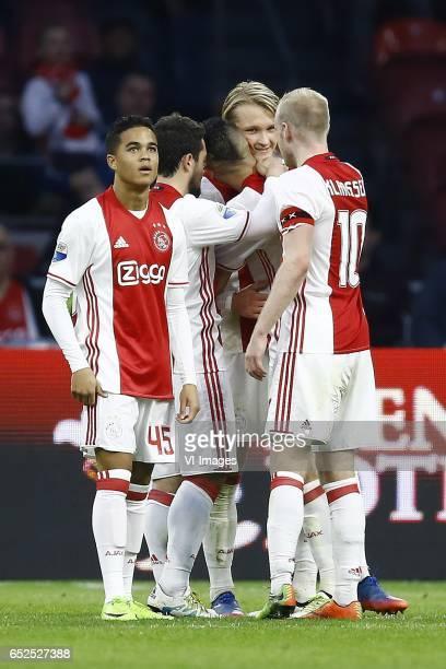 Justin kluivert of Ajax Amsterdam Kasper Dolberg of Ajax Amsterdam scoredduring the Dutch Eredivisie match between Ajax Amsterdam and FC Twente...