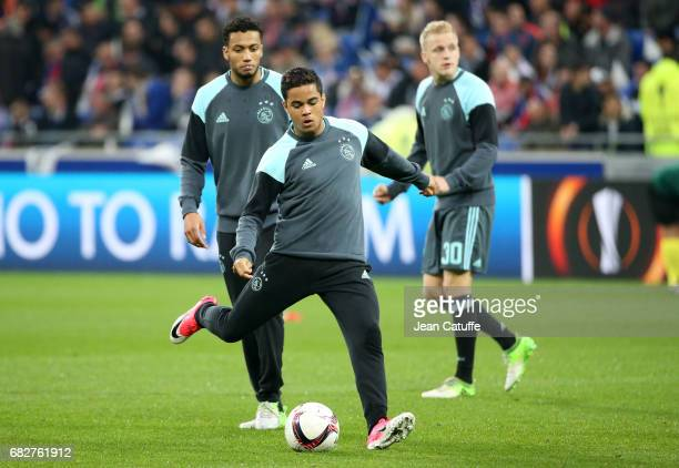 Justin Kluivert of Ajax Amsterdam warms up during the UEFA Europa League semi final second leg match between Olympique Lyonnais and Ajax Amsterdam at...