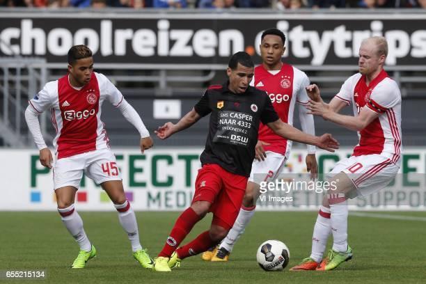 Justin Kluivert of Ajax Anouar Hadouir of Excelsior Kenny Tete of Ajax Davy Klaassen of Ajaxduring the Dutch Eredivisie match between sbv Excelsior...