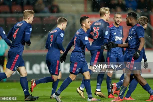 Justin Kluivert of Ajax celebrates 23 with Matthijs de Ligt of Ajax Joel Veltman of Ajax Kasper Dolberg of Ajax Hakim Ziyech of Ajax Deyovaisio...