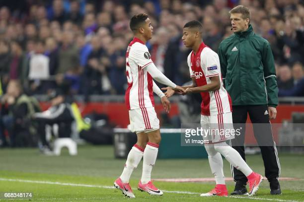 Justin Kluivert of Ajax David Neres of Ajaxduring the UEFA Europa League quarter final match between Ajax Amsterdam and FC Schalke 04 at the...