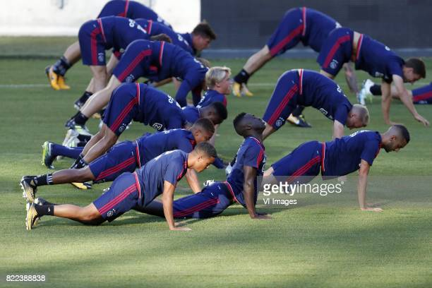 Justin Kluivert of Ajax Davinson Sanchez of Ajax Donny van de Beek of Ajax Hakim Ziyech of Ajax during a training session prior to the third round...