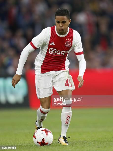 Justin Kluivert of Ajax during the UEFA Champions League third round qualifying first leg match between Ajax Amsterdam and OGC Nice at the Amsterdam...