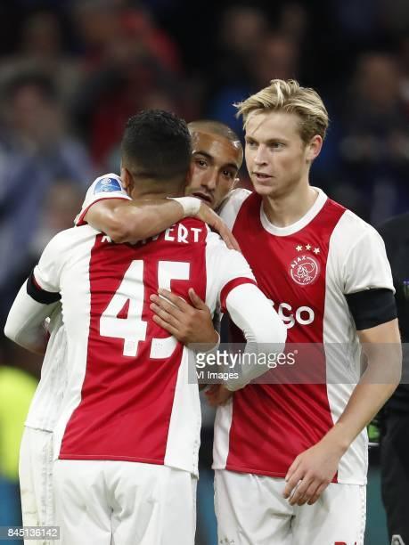 Justin Kluivert of Ajax Hakim Ziyech of Ajax Frenkie de Jong of Ajax during the Dutch Eredivisie match between Ajax Amsterdam and PEC Zwolle at the...