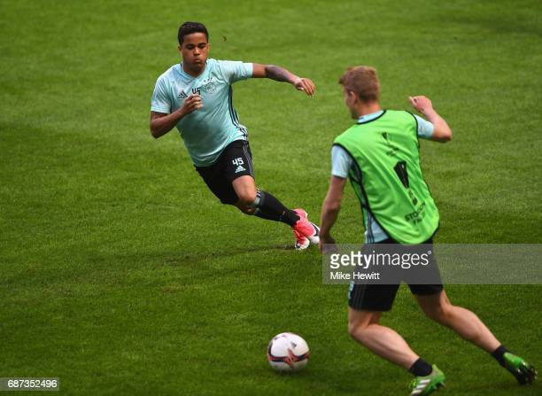 Justin Kluivert of Ajax in action during a training session at The Friends Arena ahead of the UEFA Europa League Final between Ajax and Manchester...