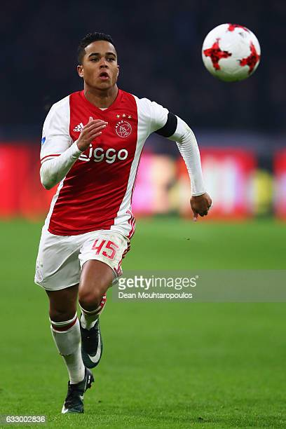 Justin Kluivert of Ajax in action during the Eredivisie match between Ajax Amsterdam and ADO Den Haag held at Amsterdam Arena on January 29 2017 in...