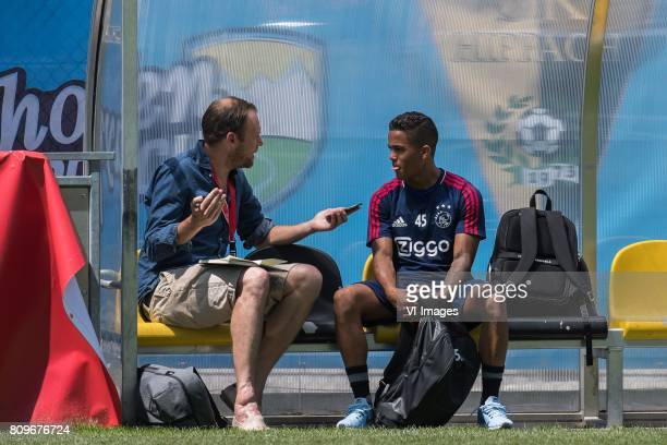 Justin Kluivert of Ajax is having an interview after the trainingduring the preseason summer training camp of Ajax Amsterdam at Lindenstadion on July...