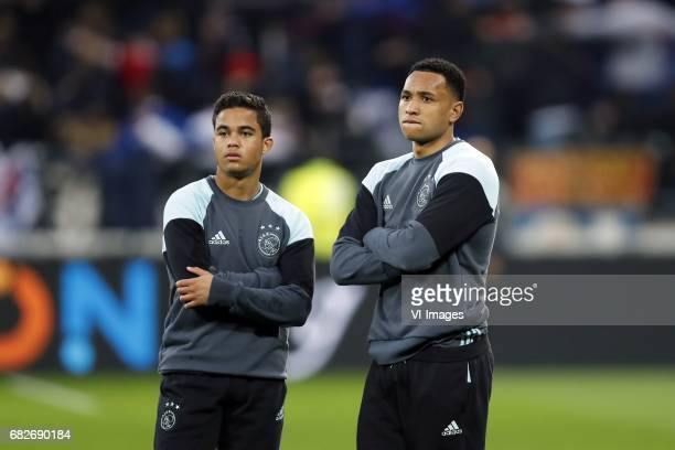 Justin Kluivert of Ajax Kenny Tete of Ajaxduring the UEFA Europa League semi final match between Olympique Lyonnais and Ajax Amsterdam at Stade de...