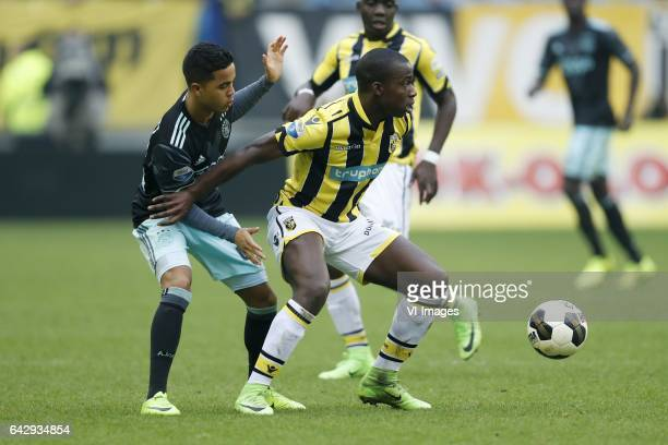 Justin Kluivert of Ajax Lassane Faye of Vitesseduring the Dutch Eredivisie match between Vitesse Arnhem and Ajax Amsterdam at Gelredome on February...