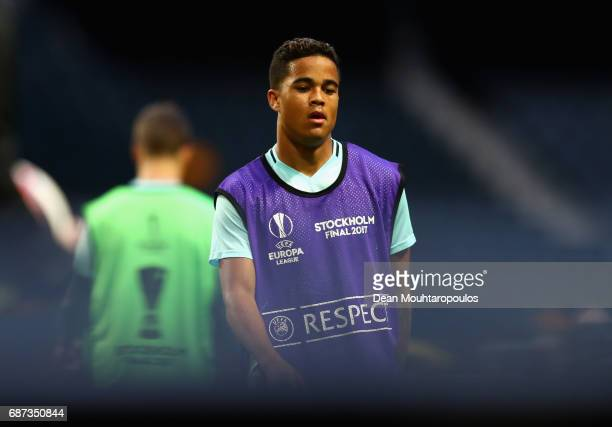 Justin Kluivert of Ajax looks on during a training session at The Friends Arena ahead of the UEFA Europa League Final between Ajax and Manchester...