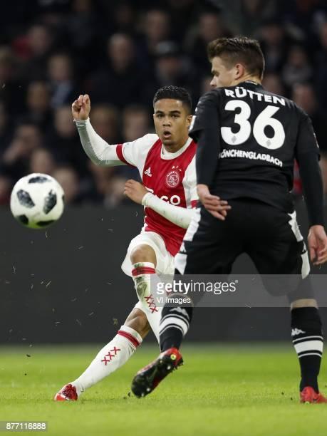 Justin Kluivert of Ajax Nils Rutten of Borussia Monchengladbach during the international friendly match between Ajax Amsterdam and Borussia...