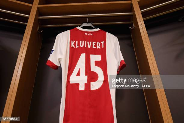 Justin Kluivert of Ajax shirt hangs in the changing room prior to the UEFA Europa League Final between Ajax and Manchester United at Friends Arena on...