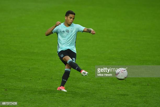 Justin Kluivert of Ajax shoots during a training session at The Friends Arena ahead of the UEFA Europa League Final between Ajax and Manchester...