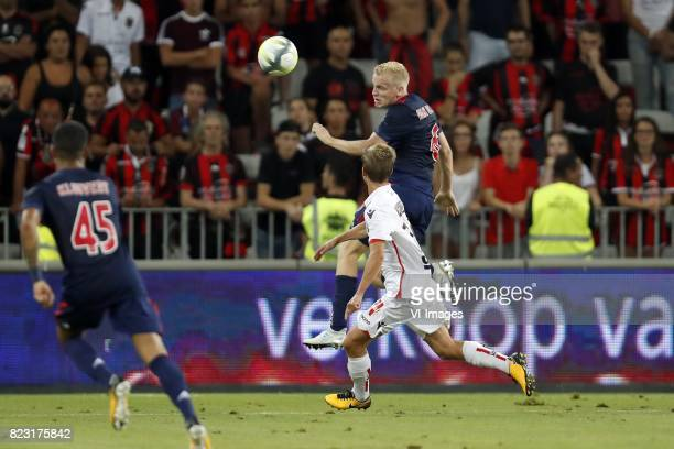 Justin Kluivert of Ajax Vincent Koziello of OCG Nice Donny van de Beek of Ajax during the UEFA Champions League third round qualifying first leg...