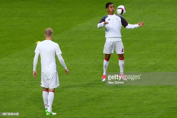 Justin Kluivert of Ajax warms up prior to the UEFA Europa League Final between Ajax and Manchester United at Friends Arena on May 24 2017 in...