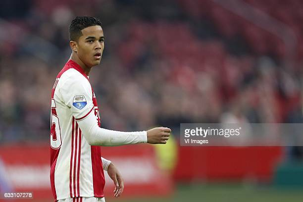 Justin Kluivert of Ajaxduring the Dutch Eredivisie match between Ajax Amsterdam and ADO Den Haag at the Amsterdam Arena on January 29 2017 in...