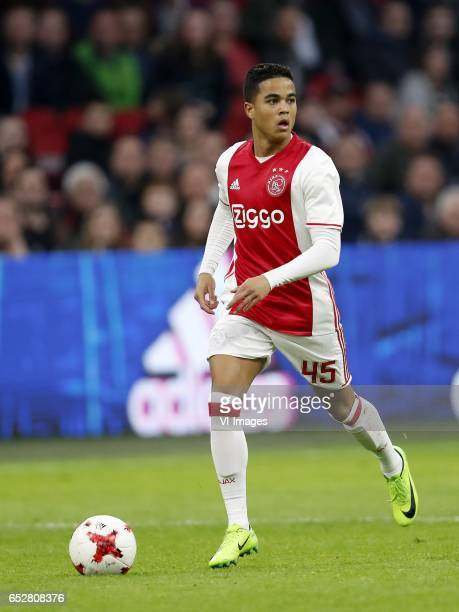 Justin Kluivert of Ajaxduring the Dutch Eredivisie match between Ajax Amsterdam and FC Twente Enschede at the Amsterdam Arena on March 12 2017 in...