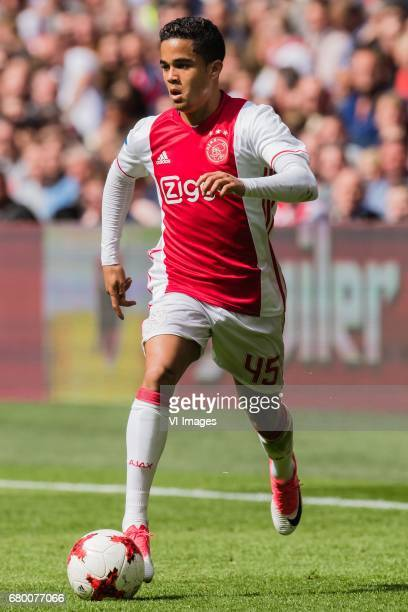 Justin Kluivert of Ajaxduring the Dutch Eredivisie match between Ajax Amsterdam and Go Ahead Eagles at the Amsterdam Arena on May 07 2017 in...