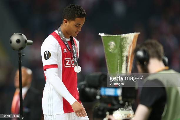 Justin Kluivert of Ajaxduring the UEFA Europa League final match between Ajax Amsterdam and Manchester United at the Friends Arena on May 24 2017 in...