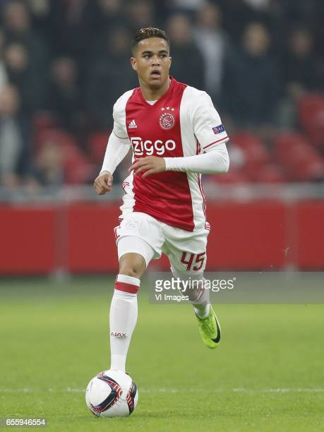 Justin Kluivert of Ajaxduring the UEFA Europa League round of 32 match between Ajax Amsterdam and FC Copenhagen at the Amsterdam Arena on March 16...