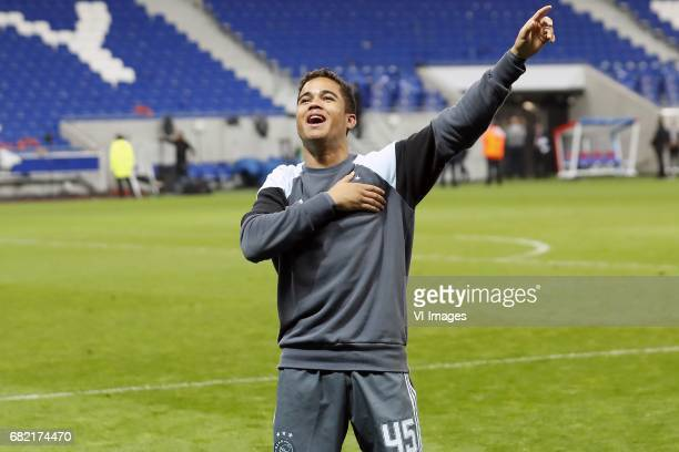 Justin Kluivert of Ajaxduring the UEFA Europa League semi final match between Olympique Lyonnais and Ajax Amsterdam at Stade de Lyon on May 11 2017...