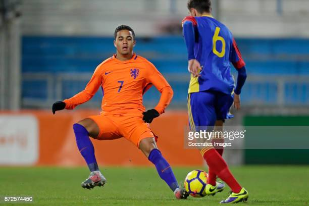 Justin Kluivert of Holland U21 Alexis Villagrasa of Andorra U21 during the match between Holland U21 v Andorra U21 at the De Vijverberg on November...